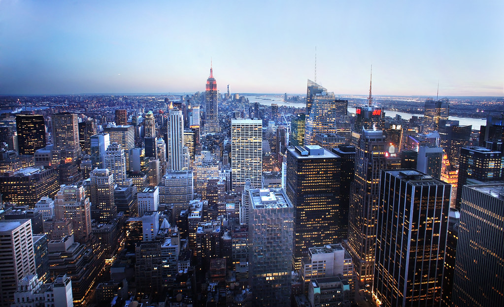 Fall In Nyc Wallpaper New York City Skyline At Blue Hour From The Top Of The Roc