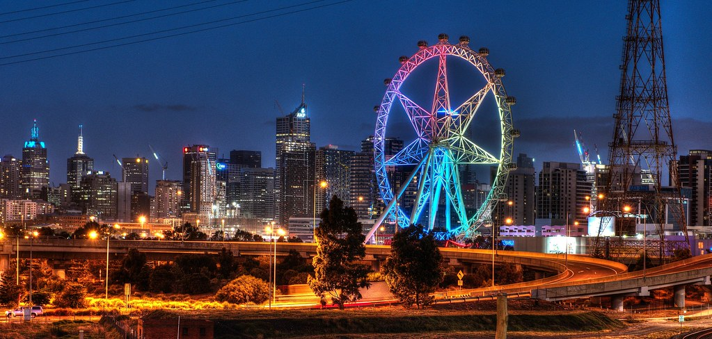3d Wallpaper City Lights Melbourne Star During The Reconstruction Of The Wheel A