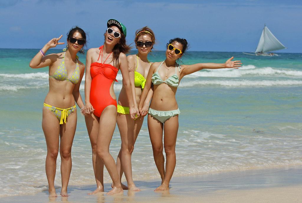 Travel Agency Wallpaper Hd Sexy Korean Girls In Bikini On Boracay Beach Philippines