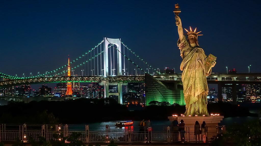 Niagara Falls At Night Wallpaper Statue Of Liberty Rainbow Bridge And Tokyo Tower As