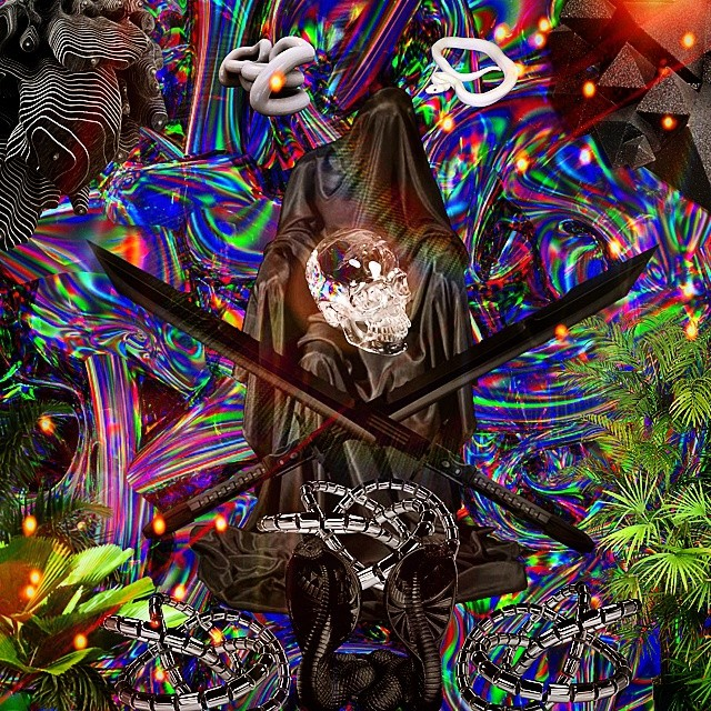 White Wave 3d Wallpaper Black Skull Spiritual Swag Webpunk Webgetto Webart