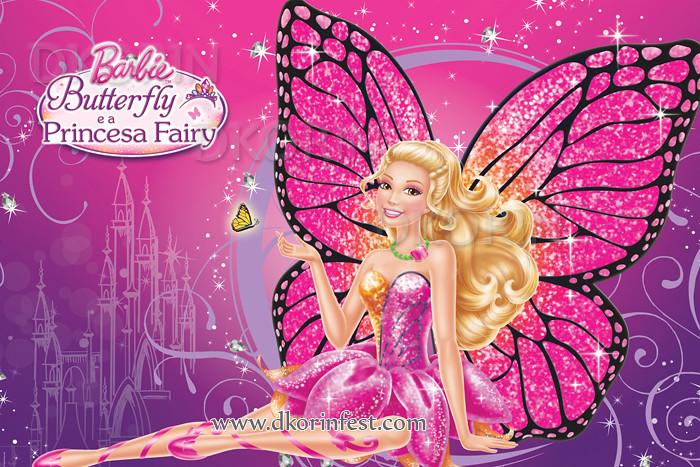 Barbie Wallpaper 3d Painel Festa Infantil Banner Barbie Butterfly E A Princesa