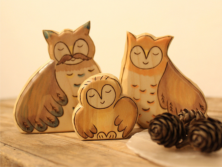 Toy R Toys Wooden Owl Family Owl Baby Mom And Dad Animal Toys