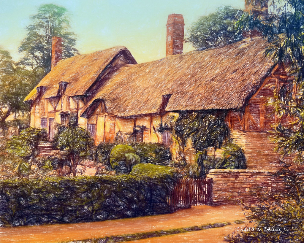 3d Colour Wallpaper Digital Colored Pencil Drawing Of Anne Hathaway S Cottage