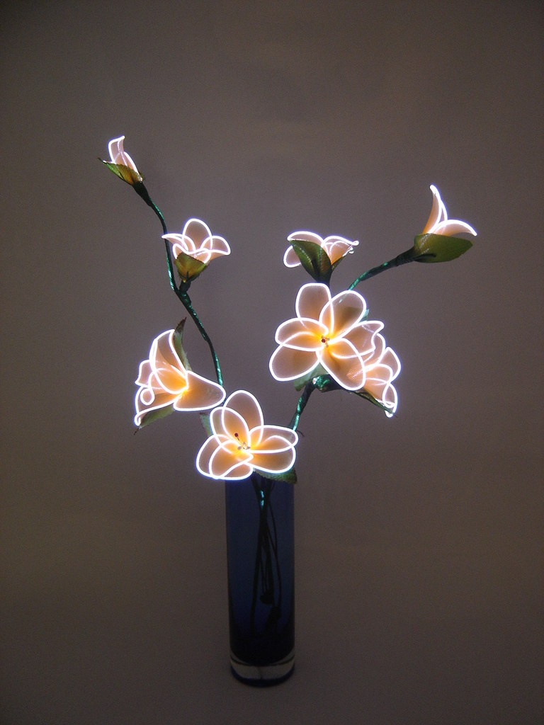 3d White Flower Wallpaper Electroluminescent Wire Cool Lighting El Wire Glow Stick