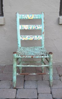 Chippy blue mosaic chair | really old but sturdy ... can't ...