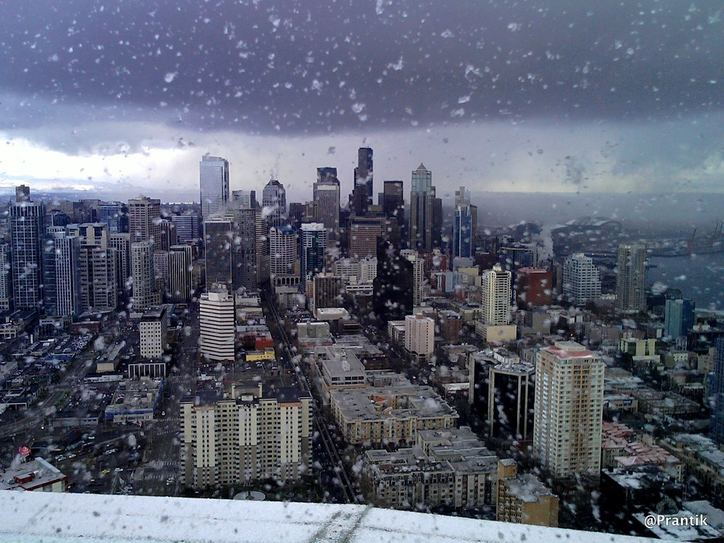 Wallpaper Hp 3d Snow In Seattle Seattle Downtown From Top Of The Space Ne