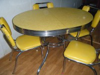 yellow formica garage sale table | Chairs need a redo but ...