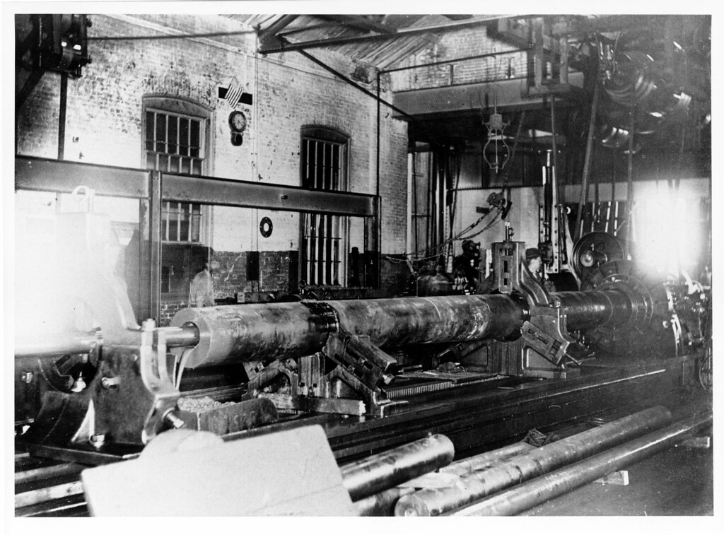 3d Library Wallpaper Workers In The Old Midvale Steel Company Machine Shop Over