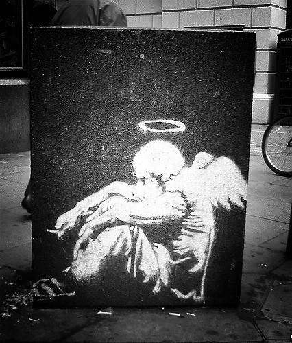 Graffiti 3d Wallpaper Banksy Fallen Angel Fallen Angel Street Piece By