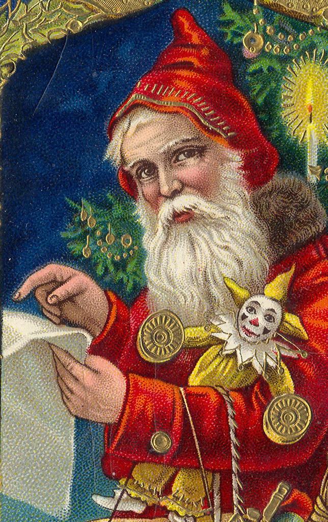 Navidad Wallpaper 3d Magical Red Santa Checking His List Gorgeous German Printe