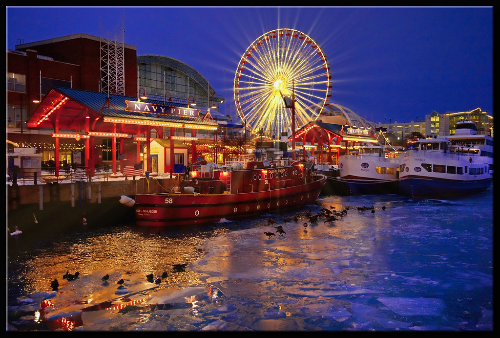 Winter Wallpaper 3d Navy Pier At Night From A Recent Very Cold But Fun Trip