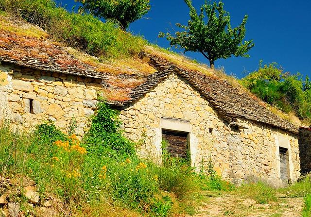 Homes built into the hillside, Boyne, Tarn region