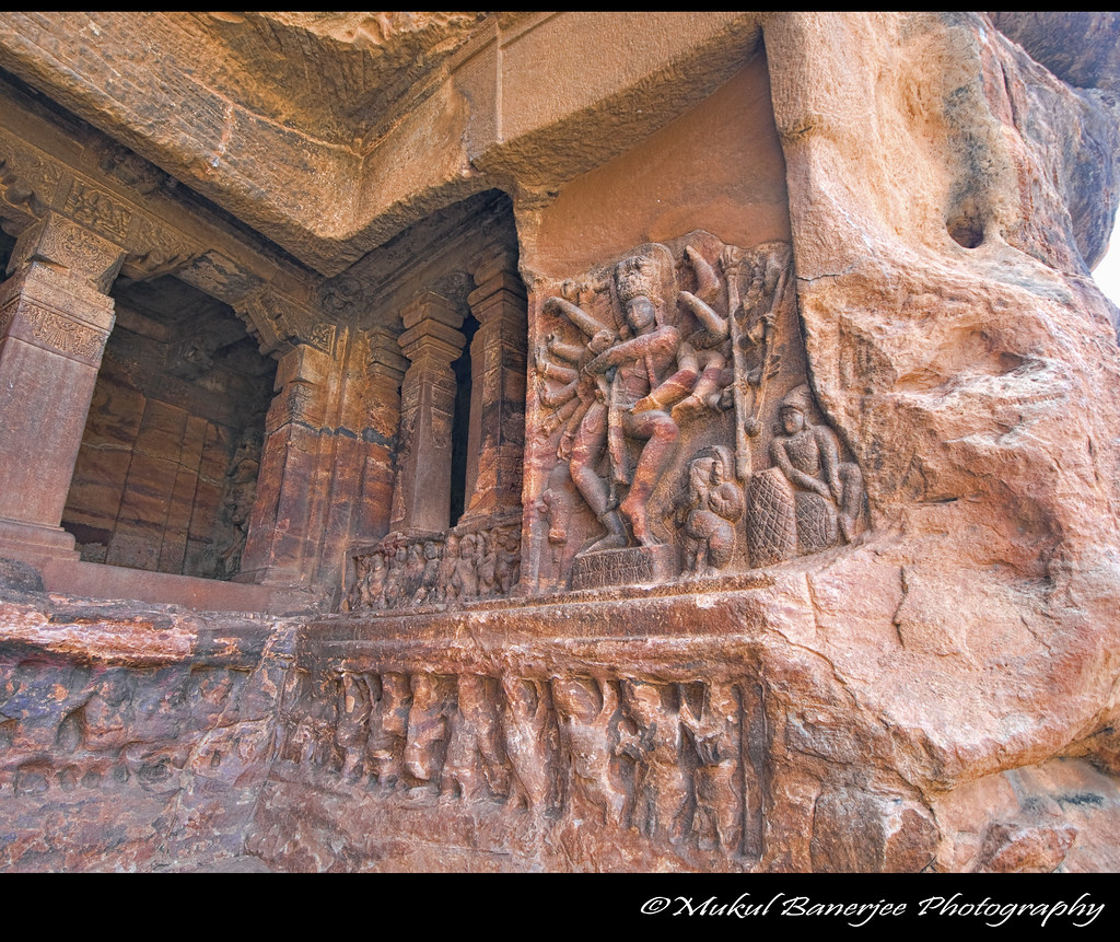 Boon Regal Exterior Sculpture Cave 1, Badami Cave Temple, Karnataka