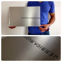 Custom interior design portfolio book with engraving treat ...
