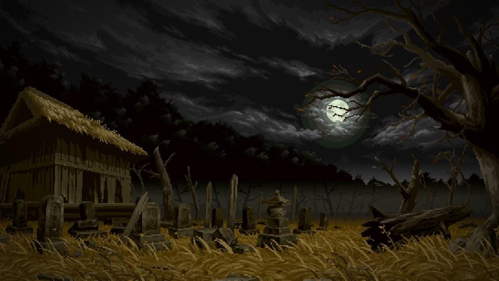 3d Moon Night Wallpaper Japanese Cemetery Pixel Art Wallpaper Trabajos De
