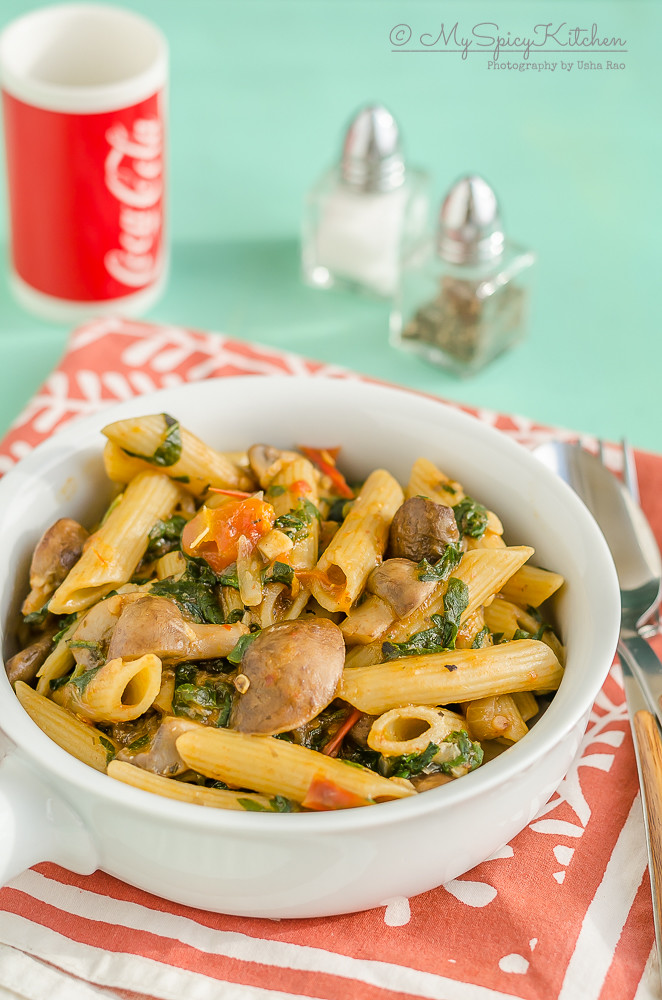 vegan Pasta, Vegan Penne Pasta, Vegan Penne Pasta with Mushrooms and Spinach, Pasta, Vegan , Blogging Marathon, One pot meal, One pot dish,