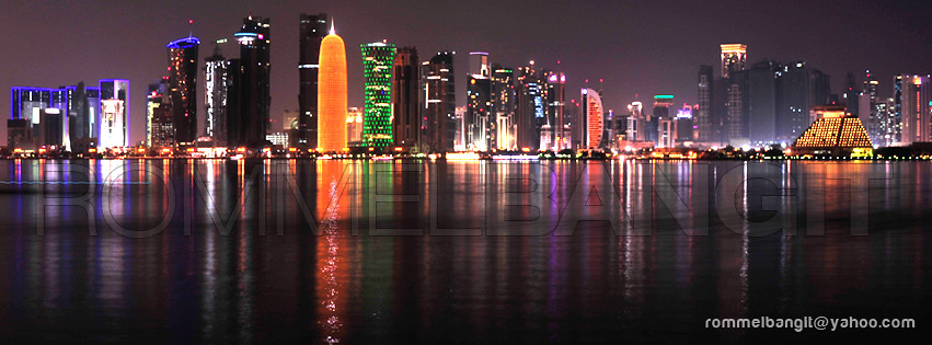3d Wallpaper In Qatar Doha Skyline By Night Skyline Doha At Night Towers In