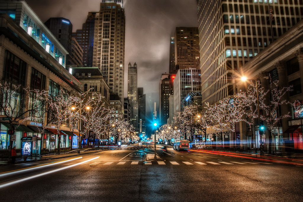 Full Hd 3d Wallpapers 1080p Michigan Ave Lights On The Way To Navy Pier I Decided To