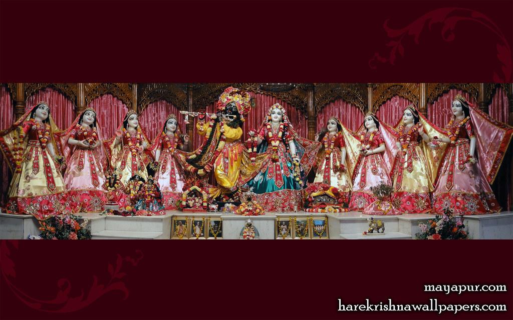 Krishna And Radha 3d Wallpaper Sri Sri Radha Madhava With Ashta Sakhi Wallpaper 008