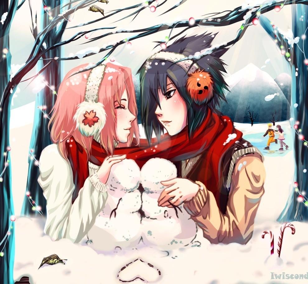 Cute Babies Wallpaper With Tears Cute Christmas Anime Wallpaper Naruto Sakura X Sasuke And