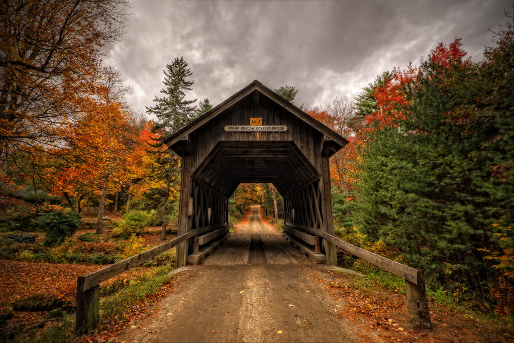 Fall In New England Wallpaper Swamp Meadow Covered Bridge Central Pike Foster Rhode