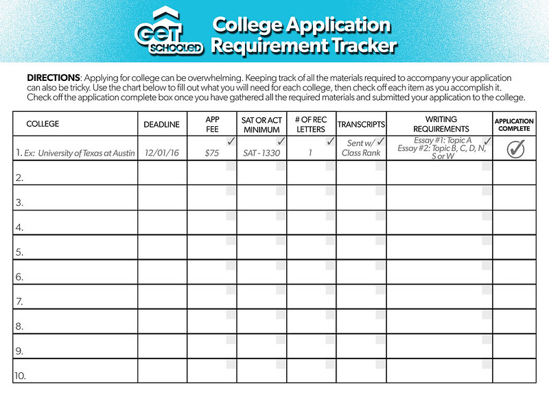 College Application Requirements Tracker