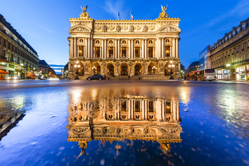 New 3d Wallpaper For Mobile Puddle Mirror On Opera Garnier In Paris By Night 7 On