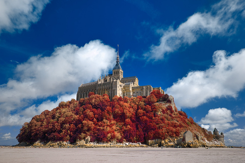 3d Blue Sky Wallpaper Autumn Shades Of Mont Saint Michel Hdr Old World