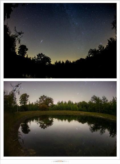 De twee composities die gebruikt zijn voor het maken van één enkele foto. De bovenstaande foto van de sterrenhemel is 122 keer gemaakt voor het sterrenspoor. De onderste, met 10 minuten belichtingstijd is één maal gemaakt.