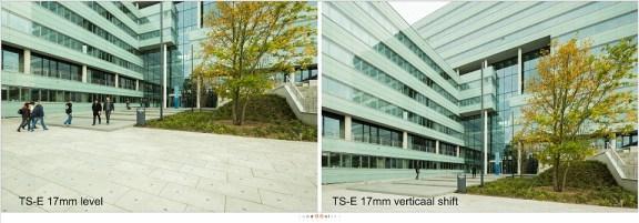 De shift optie van de TS-E 17mm geeft de mogelijkheid om zonder perspectief correctie een gebouw te fotograferen. Het resultaat is ongeveer gelijk aan de 11mm die een perspectiefcorrectie heeft ondergaan.
