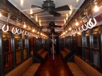Large ceiling fans in old subway car at the New York Trans ...