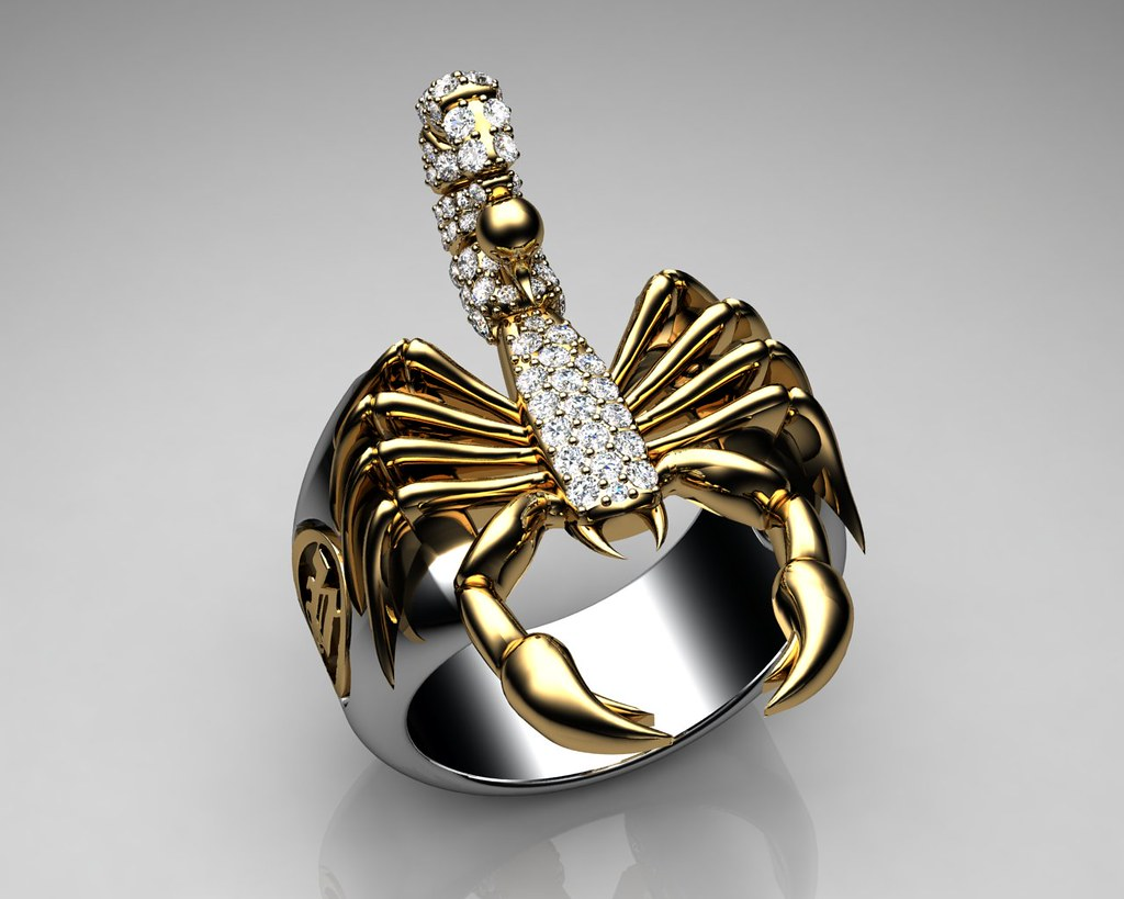 Unique Mens Ring Scorpion Sterling Silver And Gold With Wh