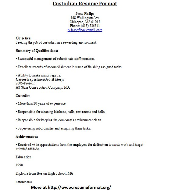 custodian resume samples - Onwebioinnovate