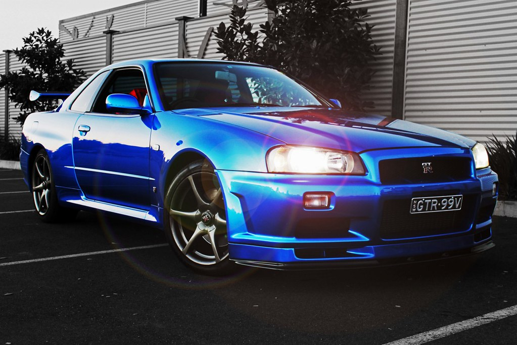 Paul Walker Blue Car Wallpaper Nissan Skyline R34 Gtr Vspec Bayside Blue Completely