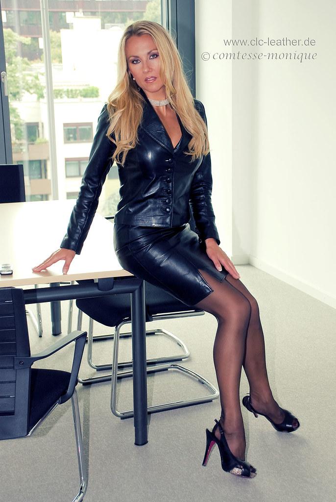 Cm black leather suit office 7 comtesse monique flickr