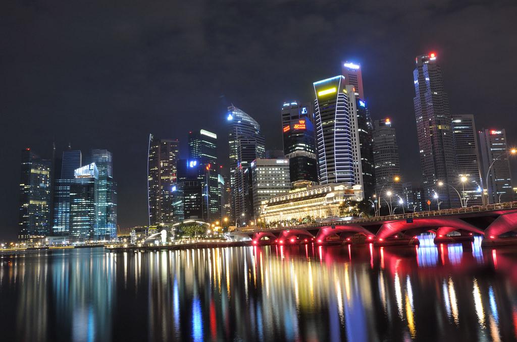 Free Wallpaper 3d Hd Singapore Skyline And Bridge At Night Tristan Schmurr