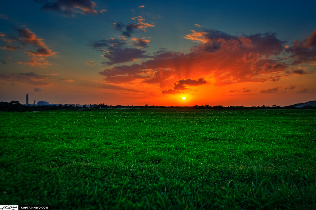 Full Hd Wallpapers Sunsets Sunset At Dyer Park Over Grassy Field Previously A Landfil