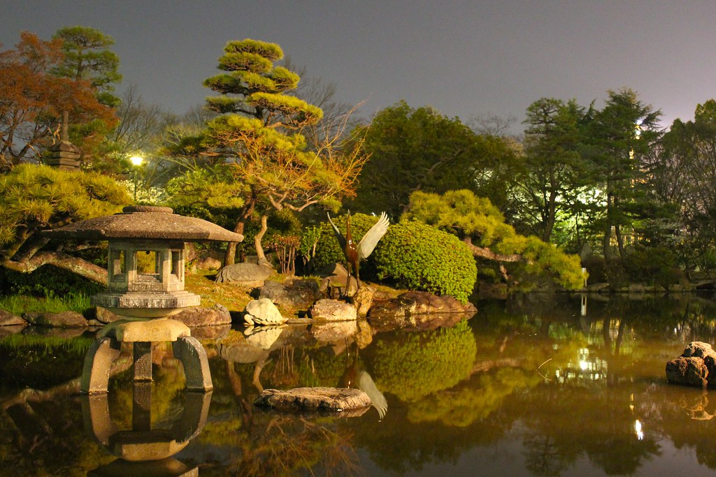 3d Japanese Wallpaper Japanese Garden At Night My Brother Actually Captured