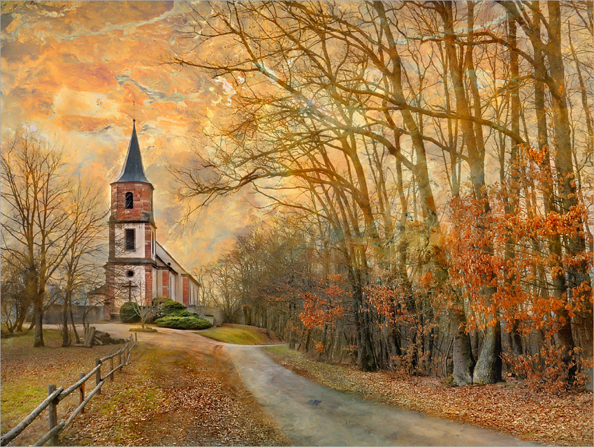 Beautiful Fall Paintings Wallpapers The Bell Tower St Pierre Bois Alsace France Jean
