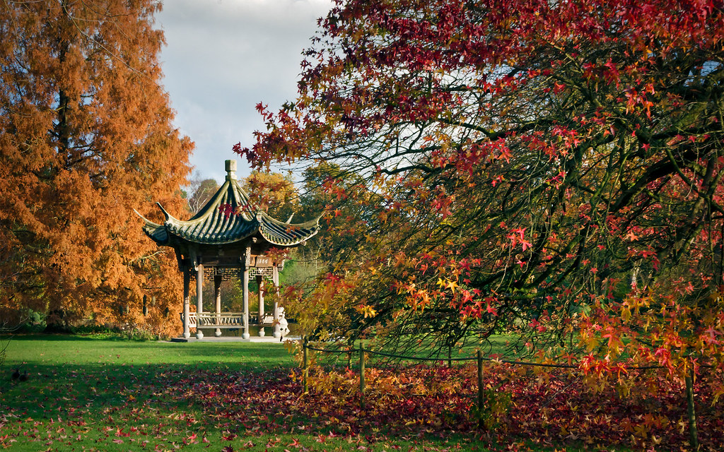3d Fall Desktop Wallpaper Oriental Pagoda Rhs Gardens Wisley Surrey Uk Chinoise