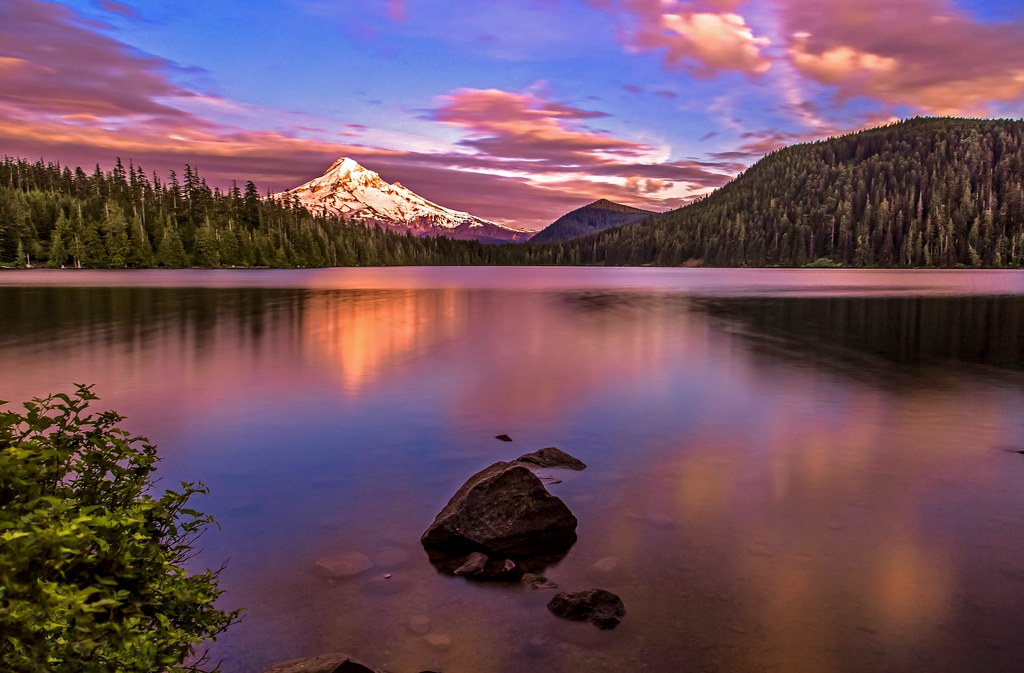 3d River Wallpaper Mount Hood At Sunset On Lost Lake Driving Up To Lost