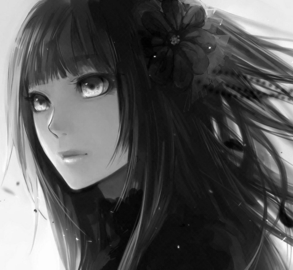 Lonely Emo Girl Hd Wallpaper Girl Black Hair Simple Background Flower Petals Fringe Ani