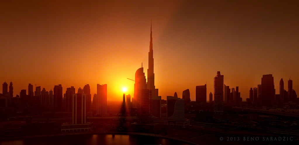Cool 3d Car Wallpapers Dubai Sunset Skyline View Of The Burj Downtown Business