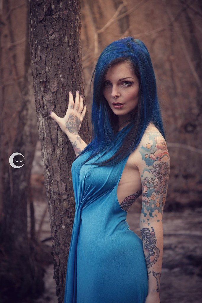 Wallpaper Girls Tatto Hd Blue Dress In The Wood Modella Riae Suicide Flickr