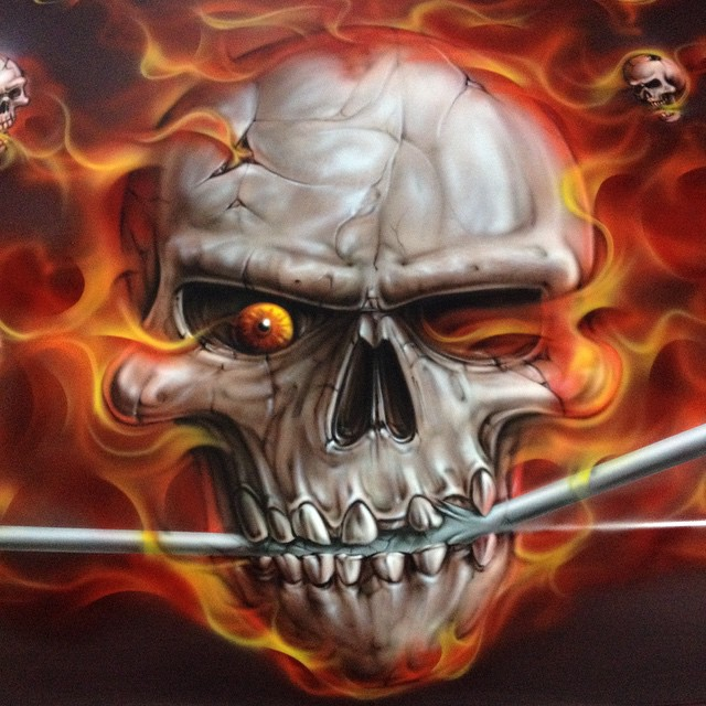 Wallpaper Skull 3d Completed Golf Cart Cowl Ready For Clear Airbrush Airb