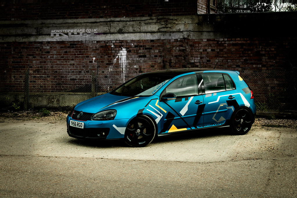 3d Wallpaper Ideas Matte Blue Golf Gti With Custom Graphics A Rework Of