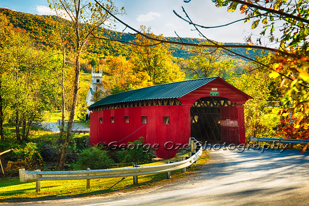 Vermont Fall Farm Wallpaper Red Covered Bridge And A Church Vermont Low Angle View