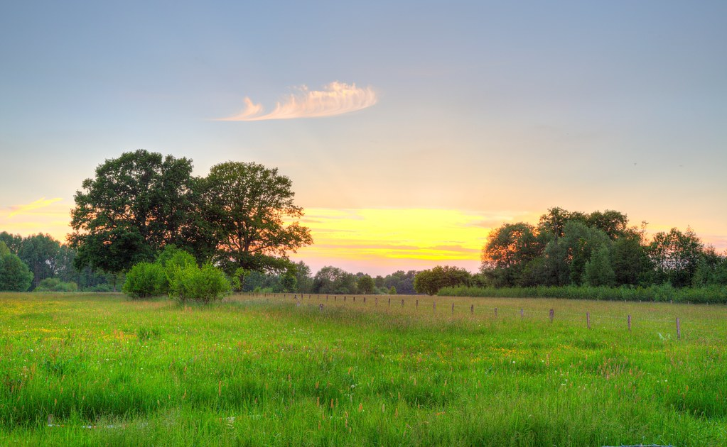 3d Wallpaper Hd Nature For Mobile Countryside Sunset Werre Meadow Between B 252 Nde And