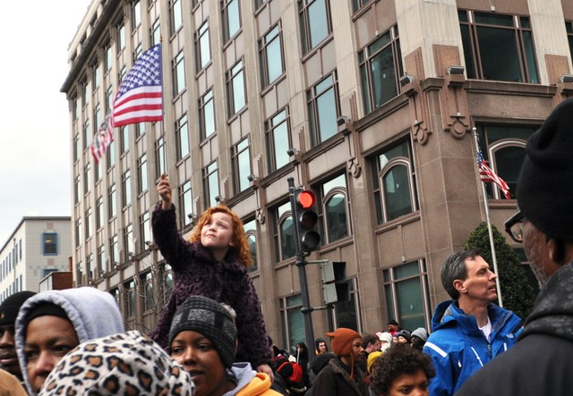 Little Redheaded Girl with Flag Following President Obama's Swearing In, Washington, D.C., Jan. 21, 2013